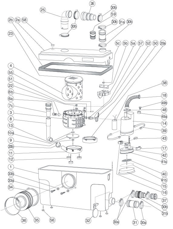 saniflo spare parts diagram